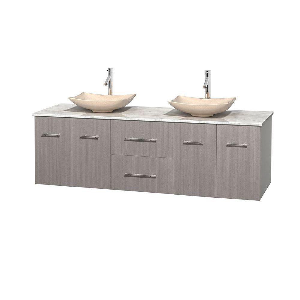 Meuble double Centra 72 po. chêne gris, comptoir blanc Carrare, lavabos ivoire, sans miroir
