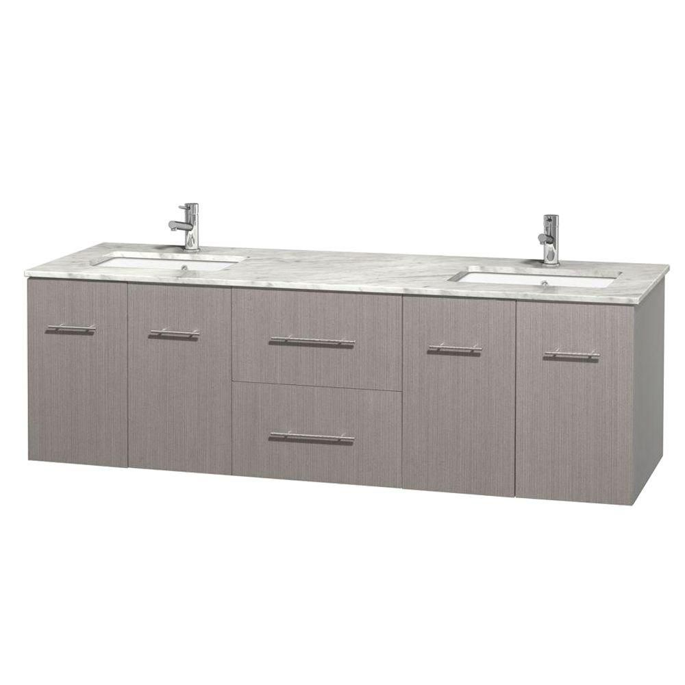 Centra 72-inch W Double Vanity in Grey Oak with White Top with Square Basins