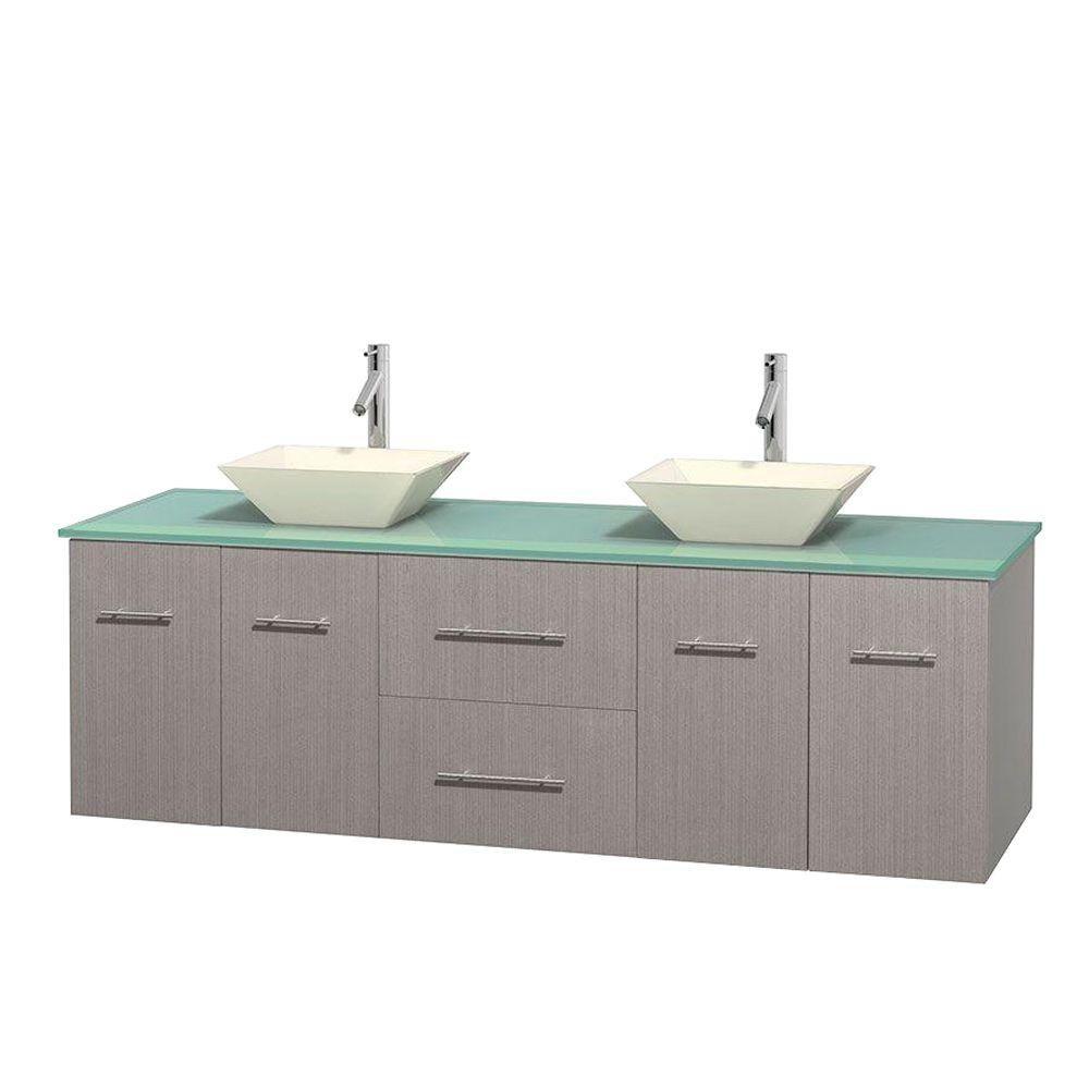 Meuble double Centra 72 po. chêne gris, comptoir verre vert, lavabos porcelaine bone sans miroir