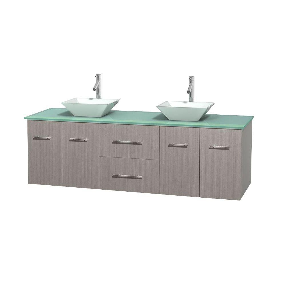 Centra 72-inch W Double Vanity in Grey Oak with Glass Top with White Basins