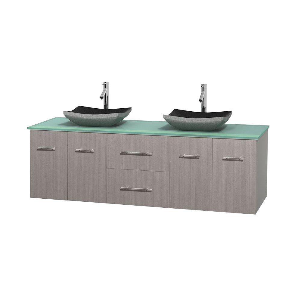 Meuble double Centra 72 po. chêne gris, comptoir verre vert, lavabos granit noir, sans miroir