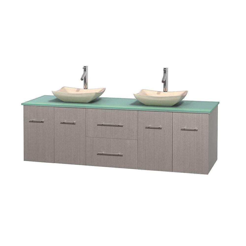 Meuble double Centra 72 po. chêne gris, comptoir verre vert, lavabos ivoire, sans miroir