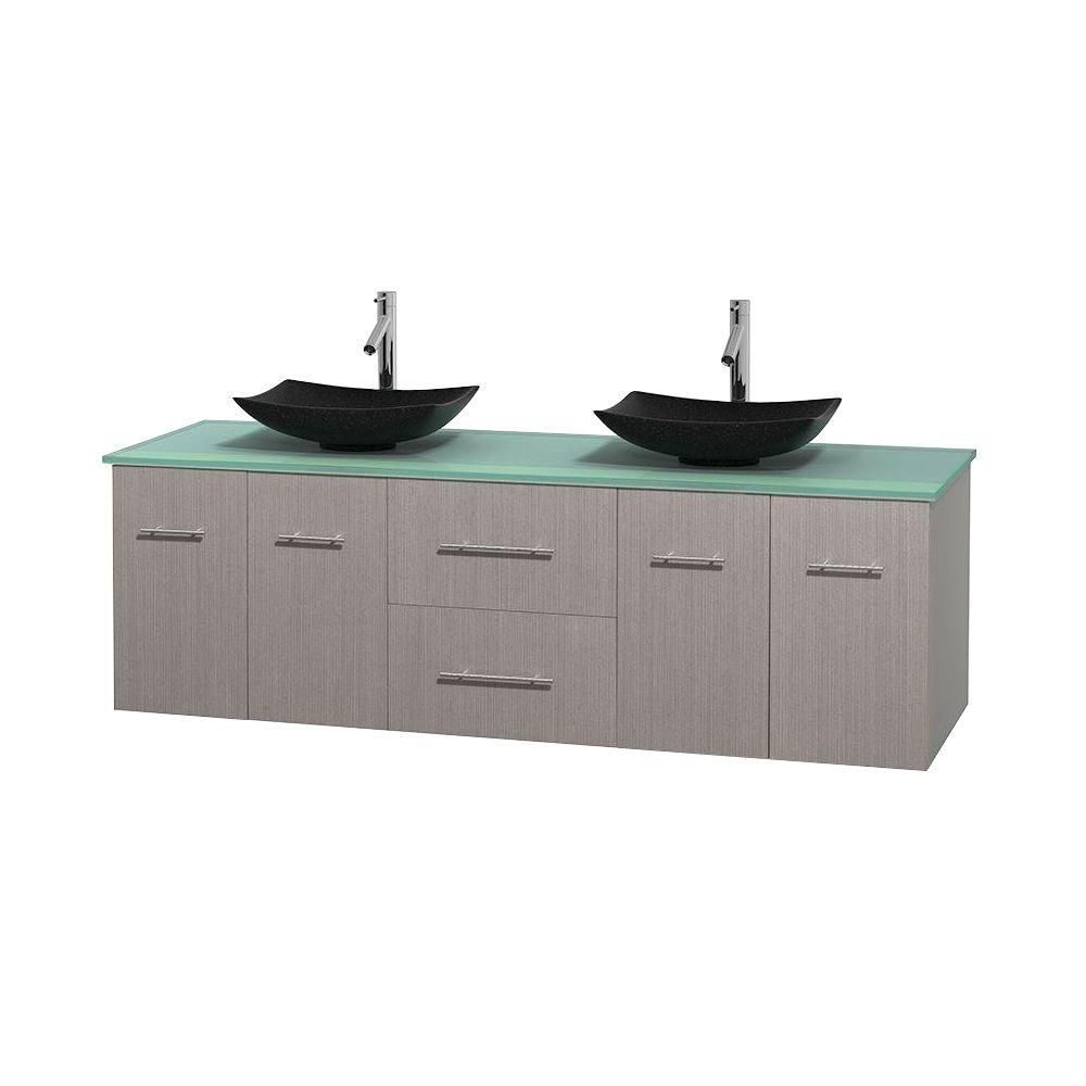 Centra 72-inch W Double Vanity in Grey Oak with Glass Top with Black Basins