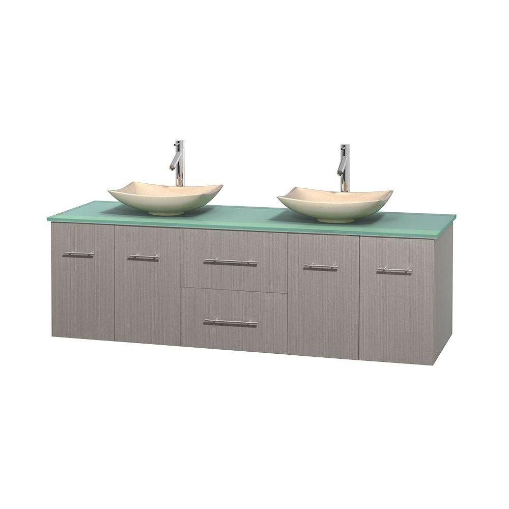 Centra 72-inch W Double Vanity in Grey Oak with Glass Top with Ivory Basins