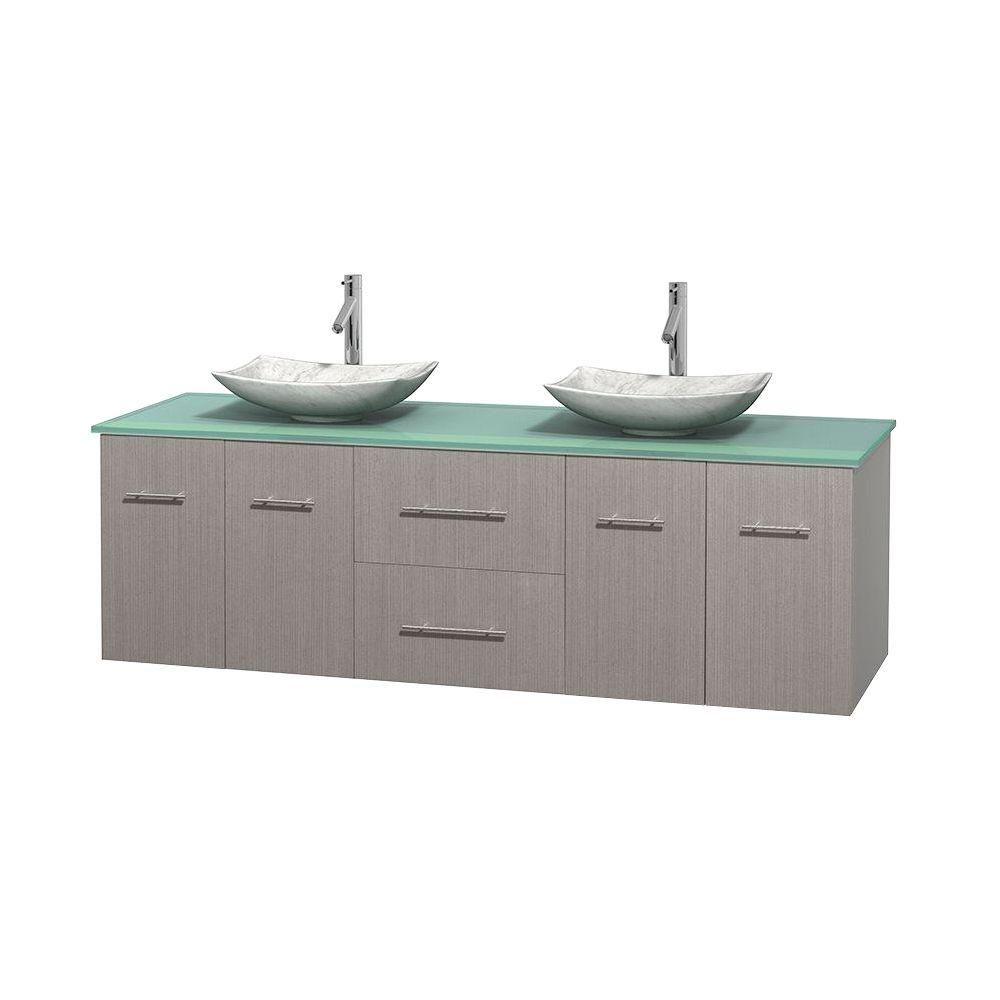 Meuble double Centra 72 po. chêne gris, comptoir verre vert, lavabos blanc Carrare, sans miroir