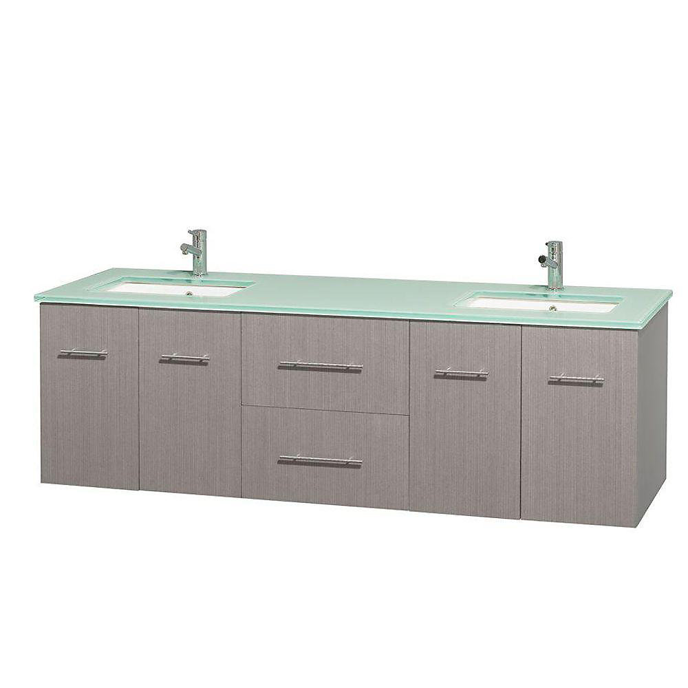 Centra 72-inch W 2-Drawer 4-Door Wall Mounted Vanity in Grey With Top in Green, Double Basins