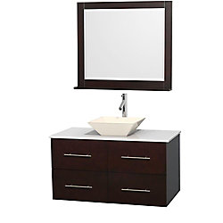 Wyndham Collection Centra 42-inch W 2-Drawer 2-Door Wall Mounted Vanity in Brown With Artificial Stone Top in White