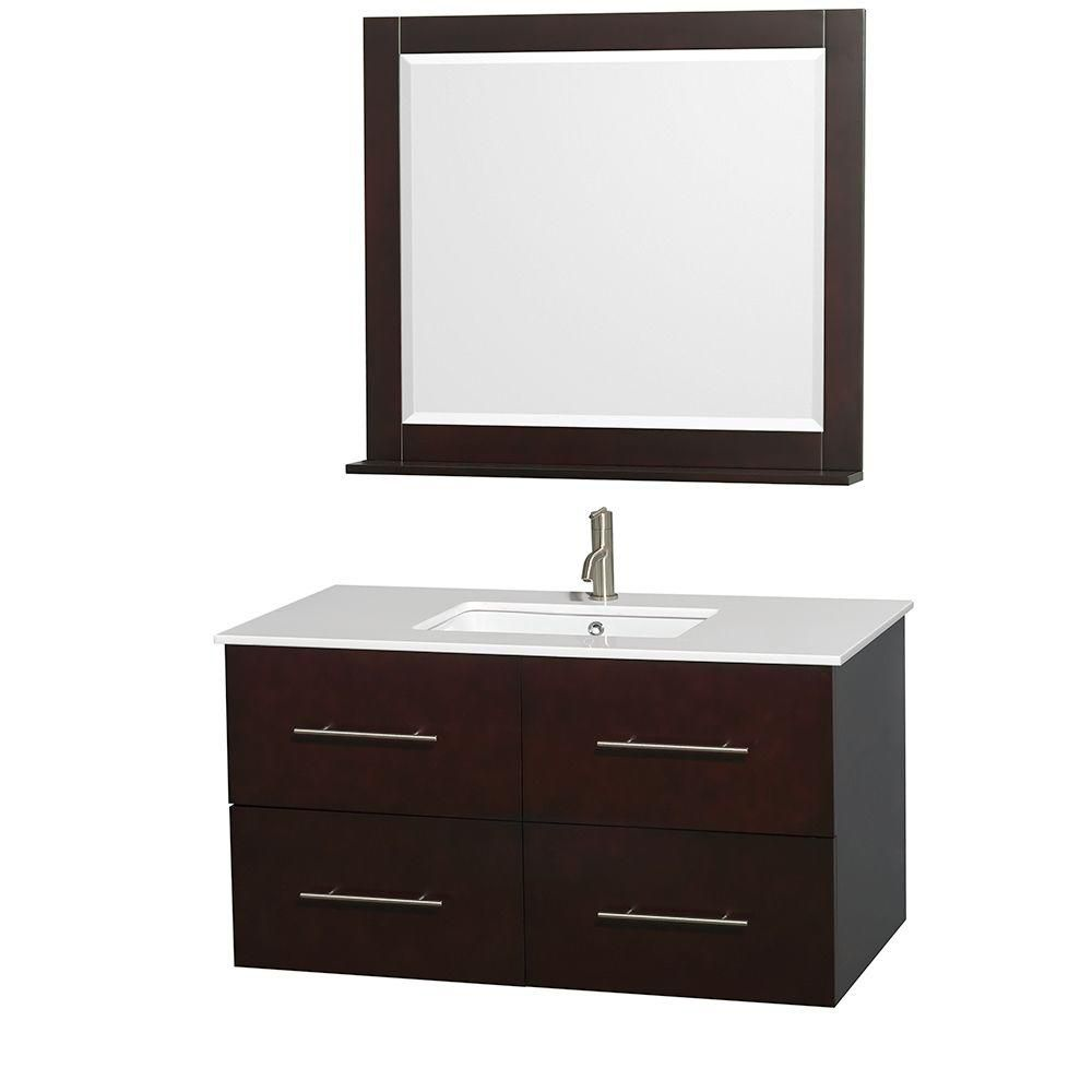 Centra 42-inch W Vanity in Espresso with Solid Top and 36-inch Mirror