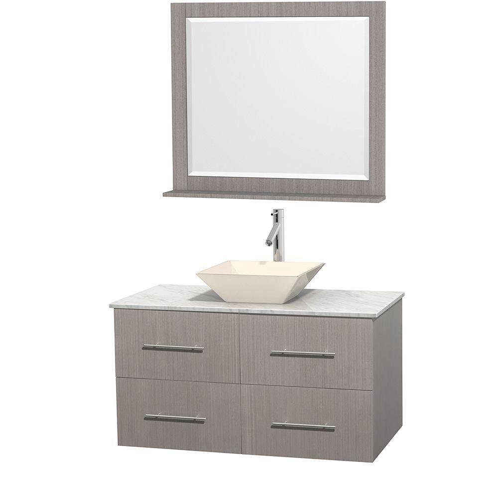 Meuble unique Centra 42 po. chêne gris, comptoir blanc Carrare, lavabo porcelaine bone, miroir 36...