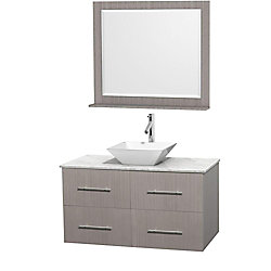 Wyndham Collection Centra 42-inch W 2-Drawer 2-Door Wall Mounted Vanity in Grey With Marble Top in White With Mirror