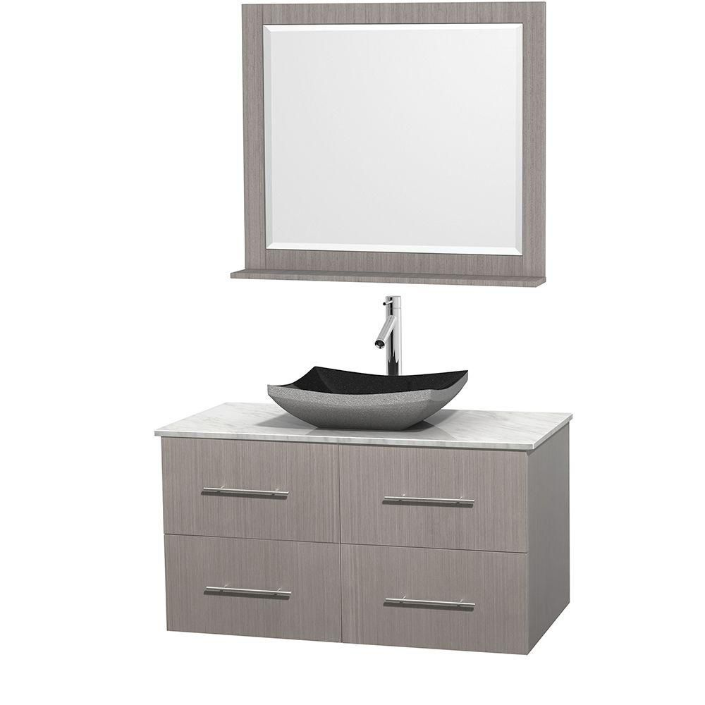 Centra 42-inch W Vanity in Grey Oak with White Top with Black Basin and Mirror