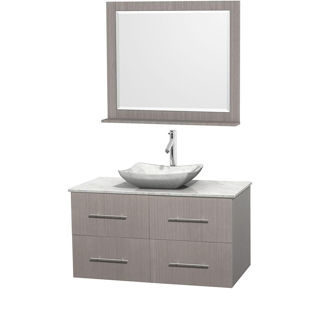 Centra 42-inch W Vanity in Grey Oak with White Top with White Basin and Mirror