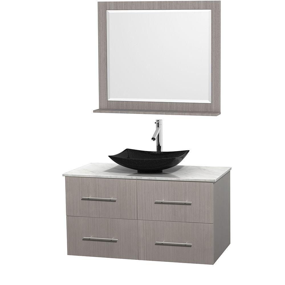 Meuble simple Centra 42 po. chêne gris, comptoir blanc Carrare, lavabo granit noir, miroir 36 po.