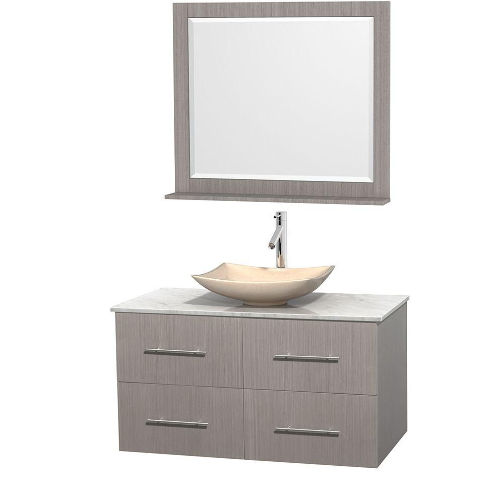 Centra 42-inch W Vanity in Grey Oak with White Top with Ivory Basin and Mirror