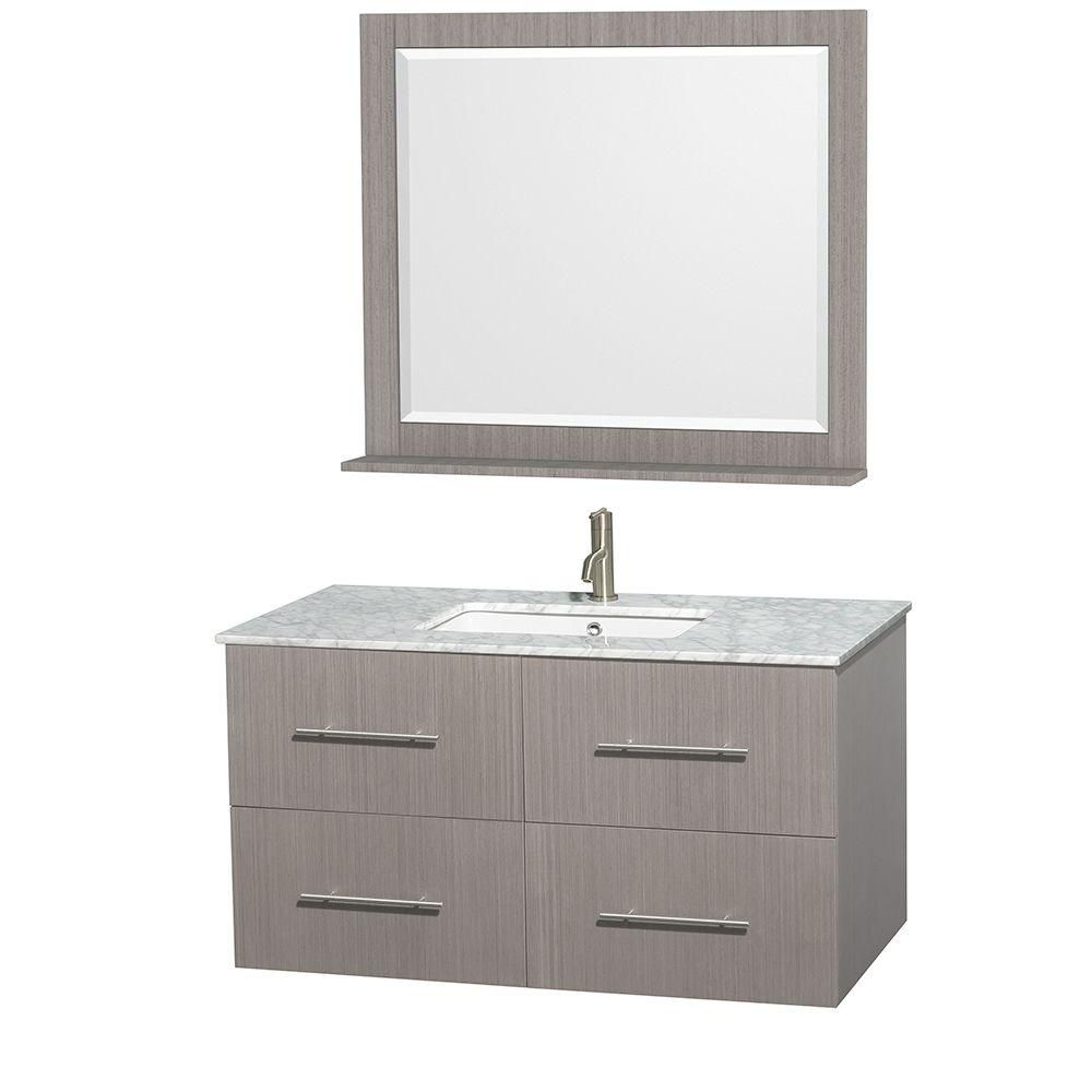 Centra 42-inch W Vanity in Grey Oak with Top in Carrara White and 36-inch Mirror