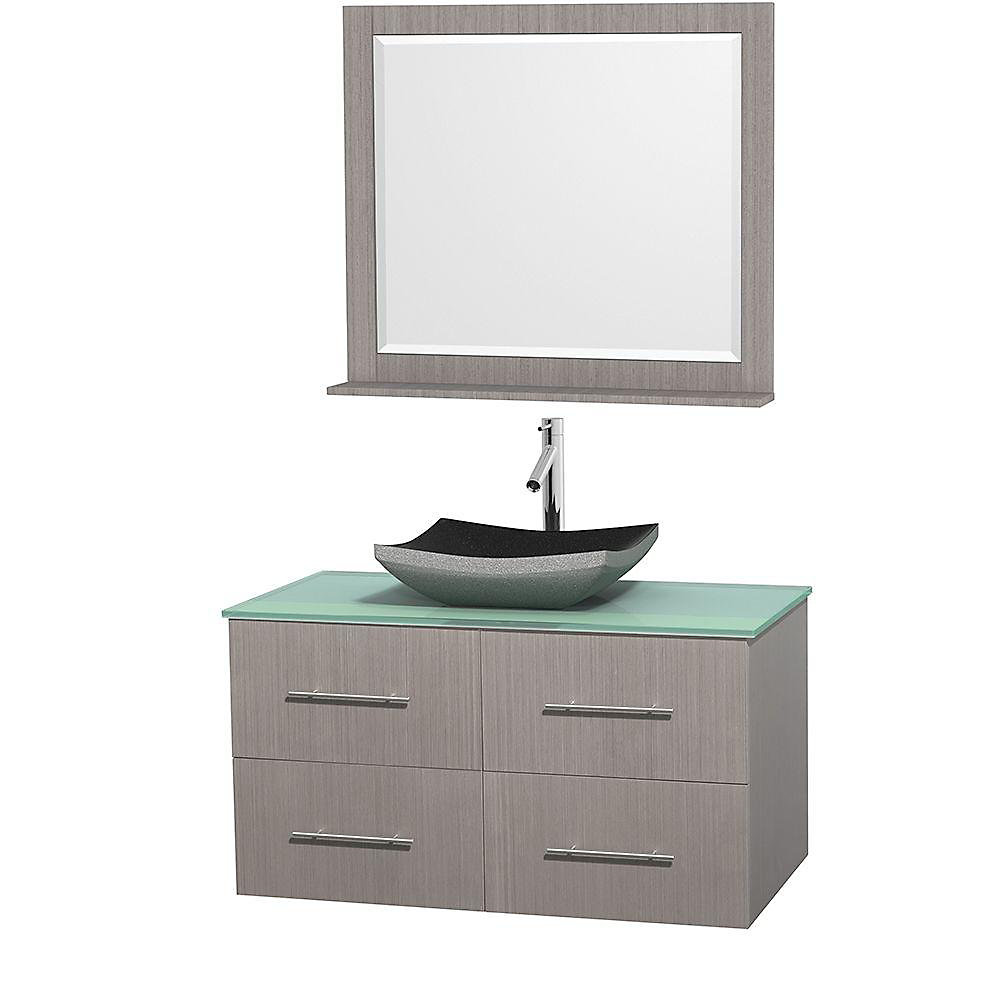 Centra 42-inch W 2-Drawer 2-Door Wall Mounted Vanity in Grey With Top in Green With Mirror