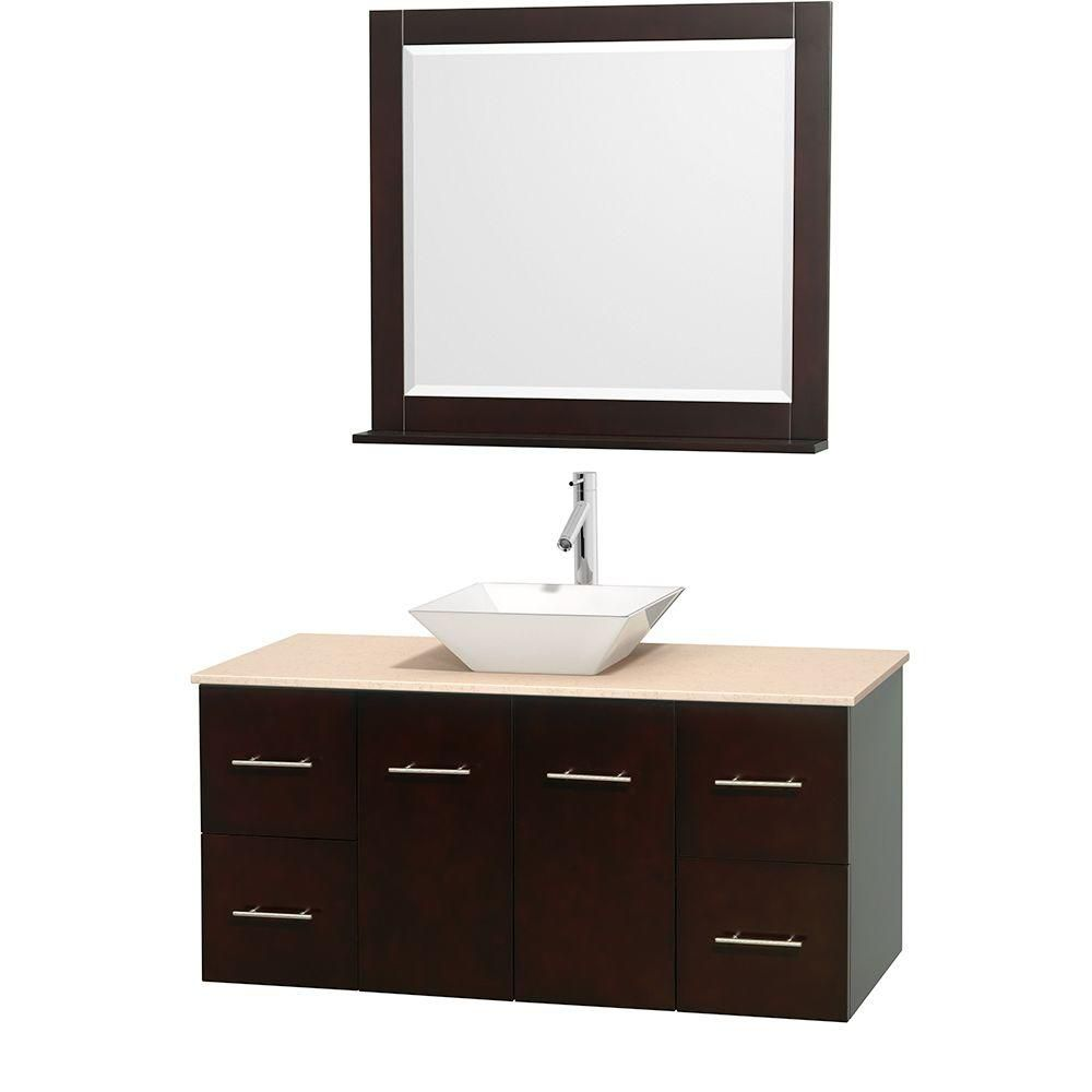 Wyndham Collection Centra 48-inch W 4-Drawer 2-Door Wall Mounted Vanity in Brown With Marble Top in Beige Tan