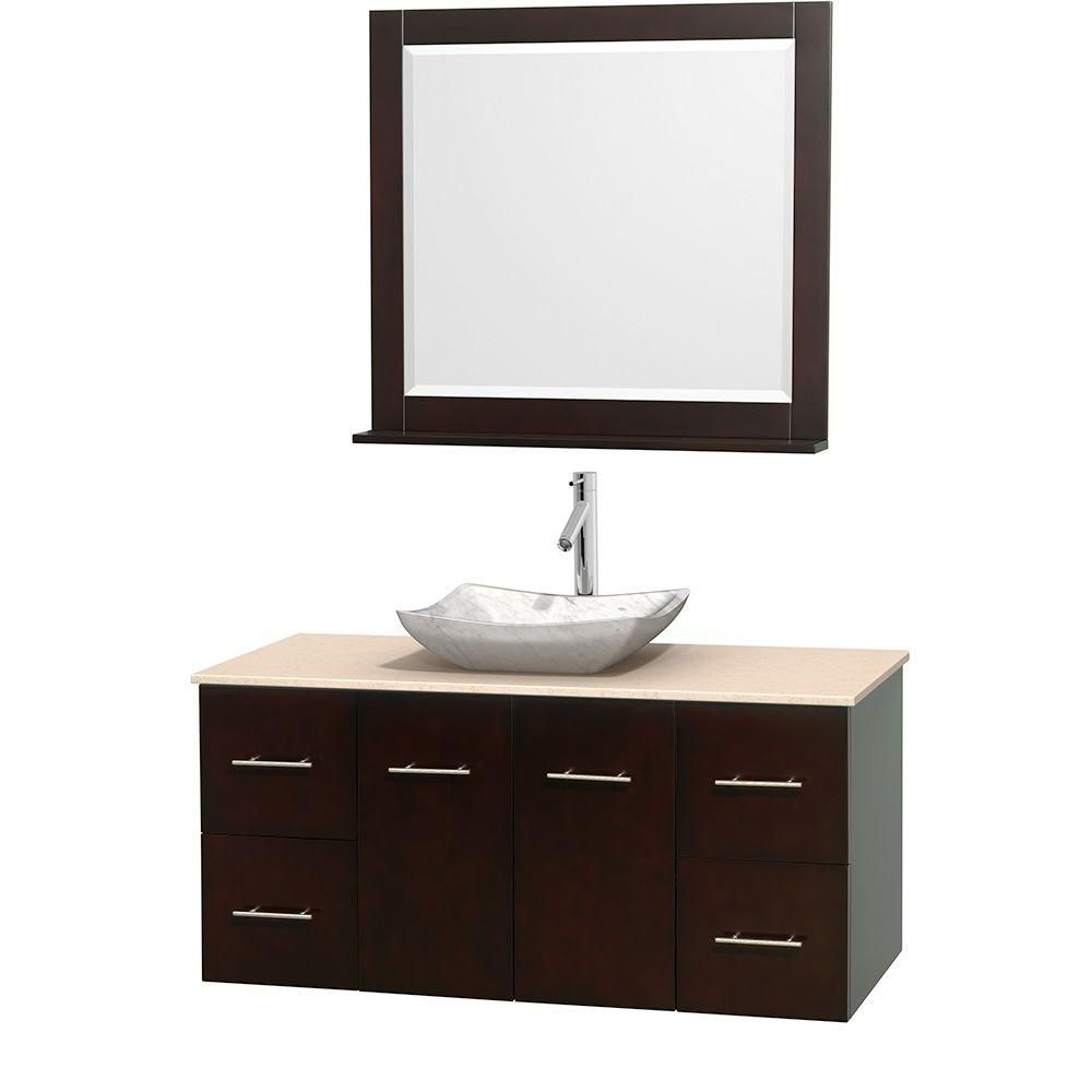 Meuble simple Centra 48 po. espresso, comptoir marbre ivoire, lavabo blanc Carrare, miroir 36 po.