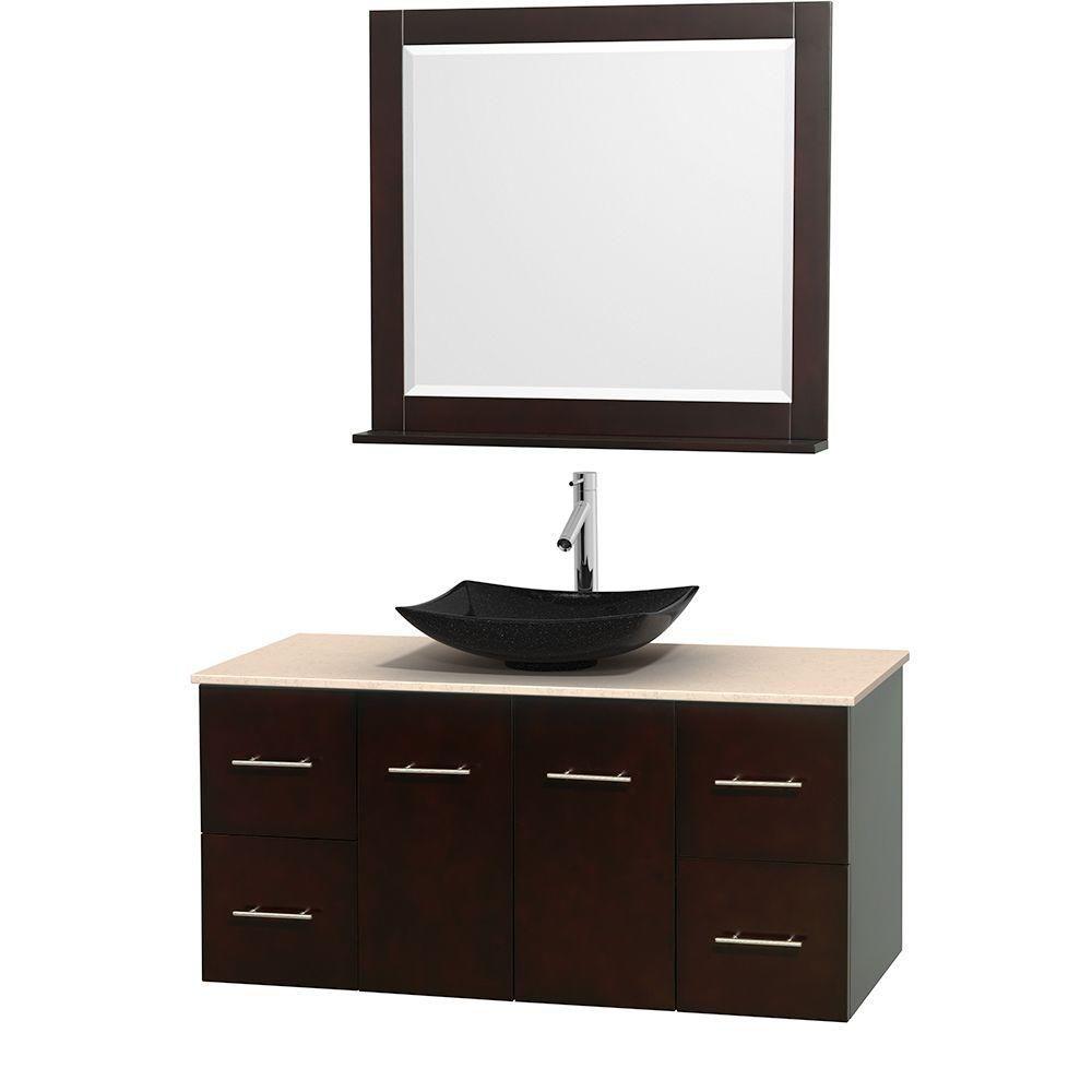 Meuble simple Centra 48 po. espresso, comptoir marbre ivoire, lavabo granit noir, miroir 36 po.