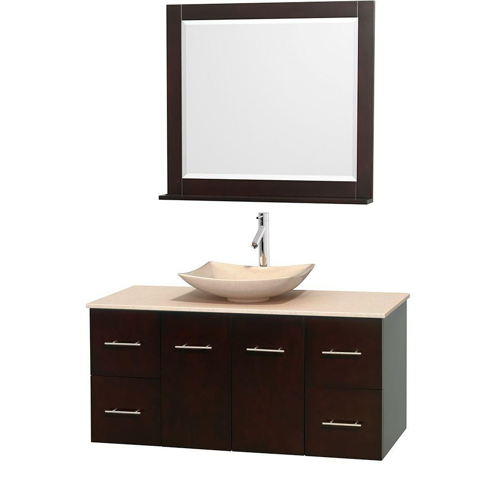 Centra 48-inch W Vanity in Espresso with Marble Top in Ivory with Ivory Basin and Mirror