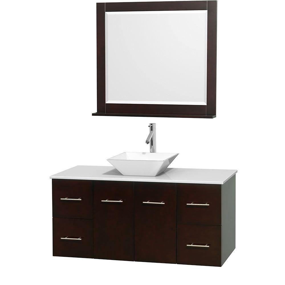 Meuble unique Centra 48 po. espresso, comptoir solide, lavabo porcelaine blanche, miroir 36 po.