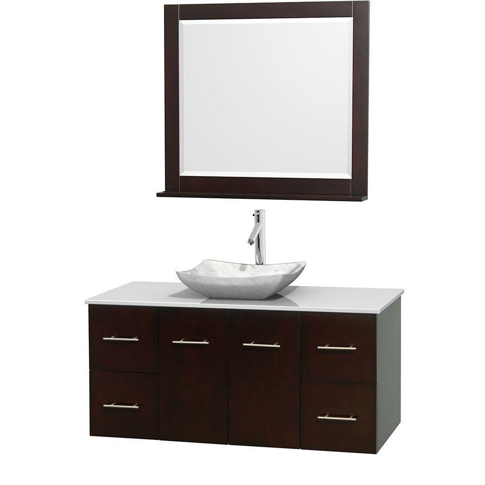 Meuble simple Centra 48 po. espresso, comptoir solide, lavabo blanc Carrare, miroir 36 po.