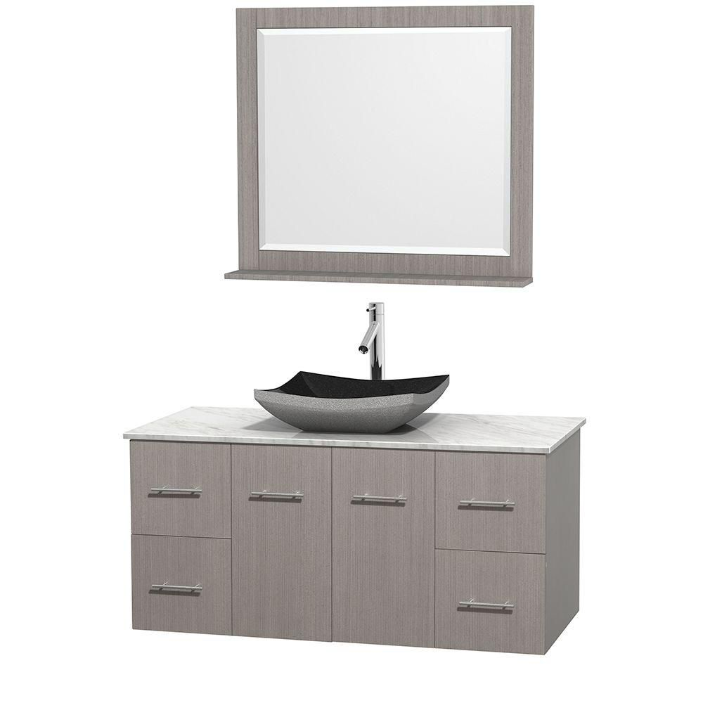 Centra 48-inch W Vanity in Grey Oak with Top in Carrara White and 36-inch Mirror