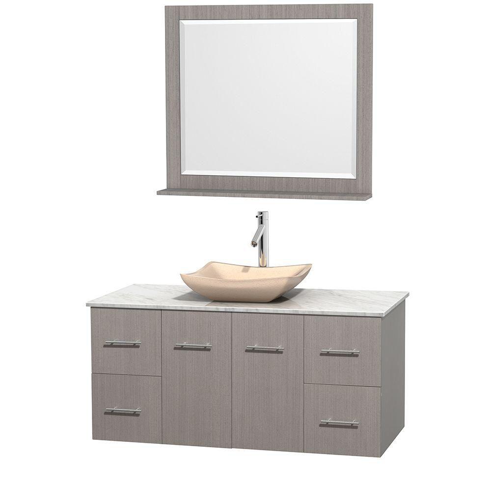 Meuble simple Centra 48 po. chêne gris, comptoir blanc Carrare, lavabo ivoire, miroir 36 po.