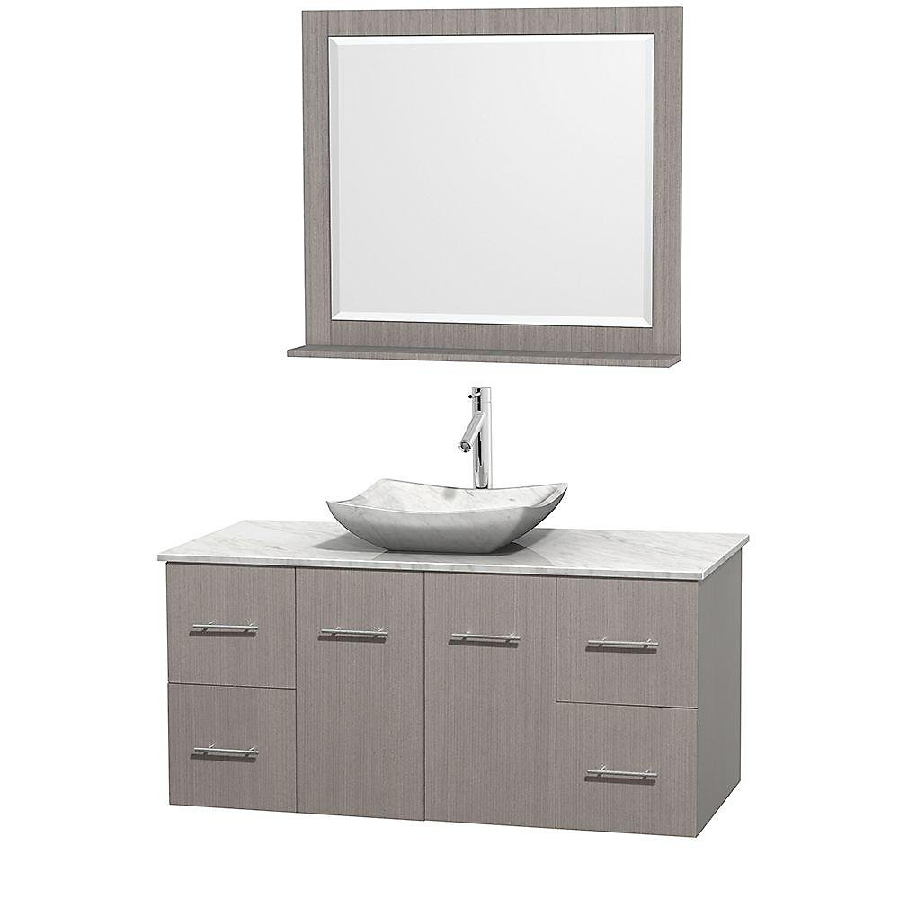 Centra 48-inch W 4-Drawer 2-Door Wall Mounted Vanity in Grey With Marble Top in White With Mirror