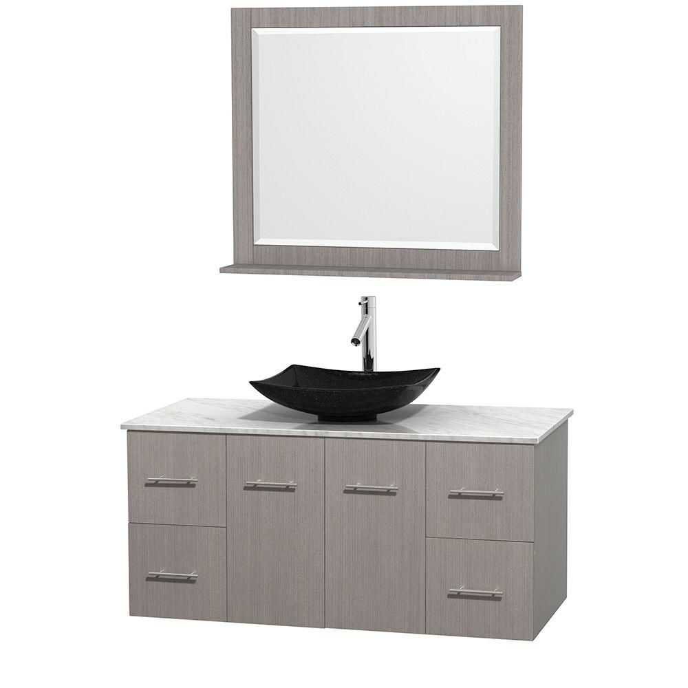 Centra 48-inch W Vanity in Grey Oak with White Top with Black Basin and Mirror