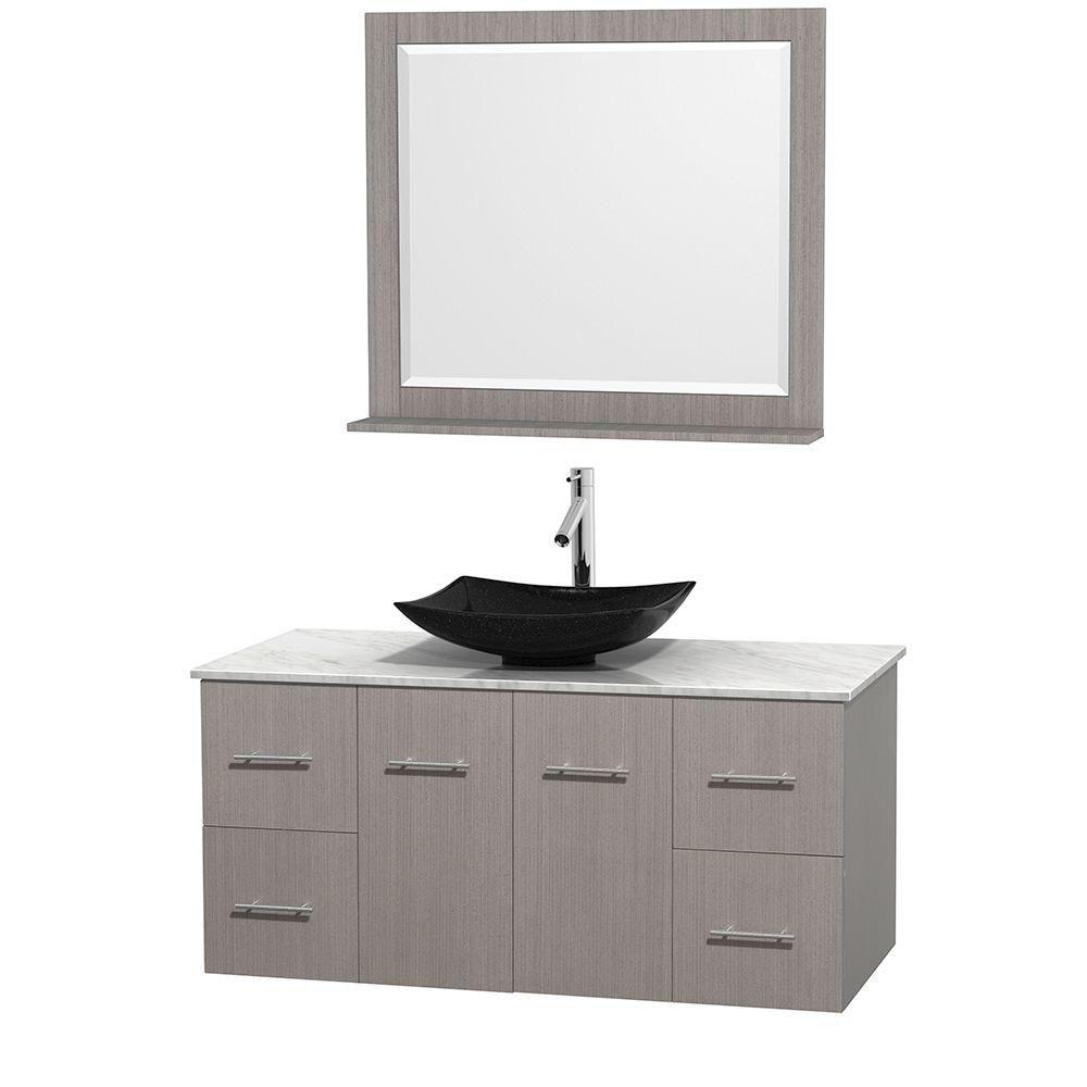 Meuble simple Centra 48 po. chêne gris, comptoir blanc Carrare, lavabo granit noir, miroir 36 po.