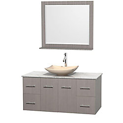 Wyndham Collection Centra 48-inch W 4-Drawer 2-Door Wall Mounted Vanity in Grey With Marble Top in White With Mirror