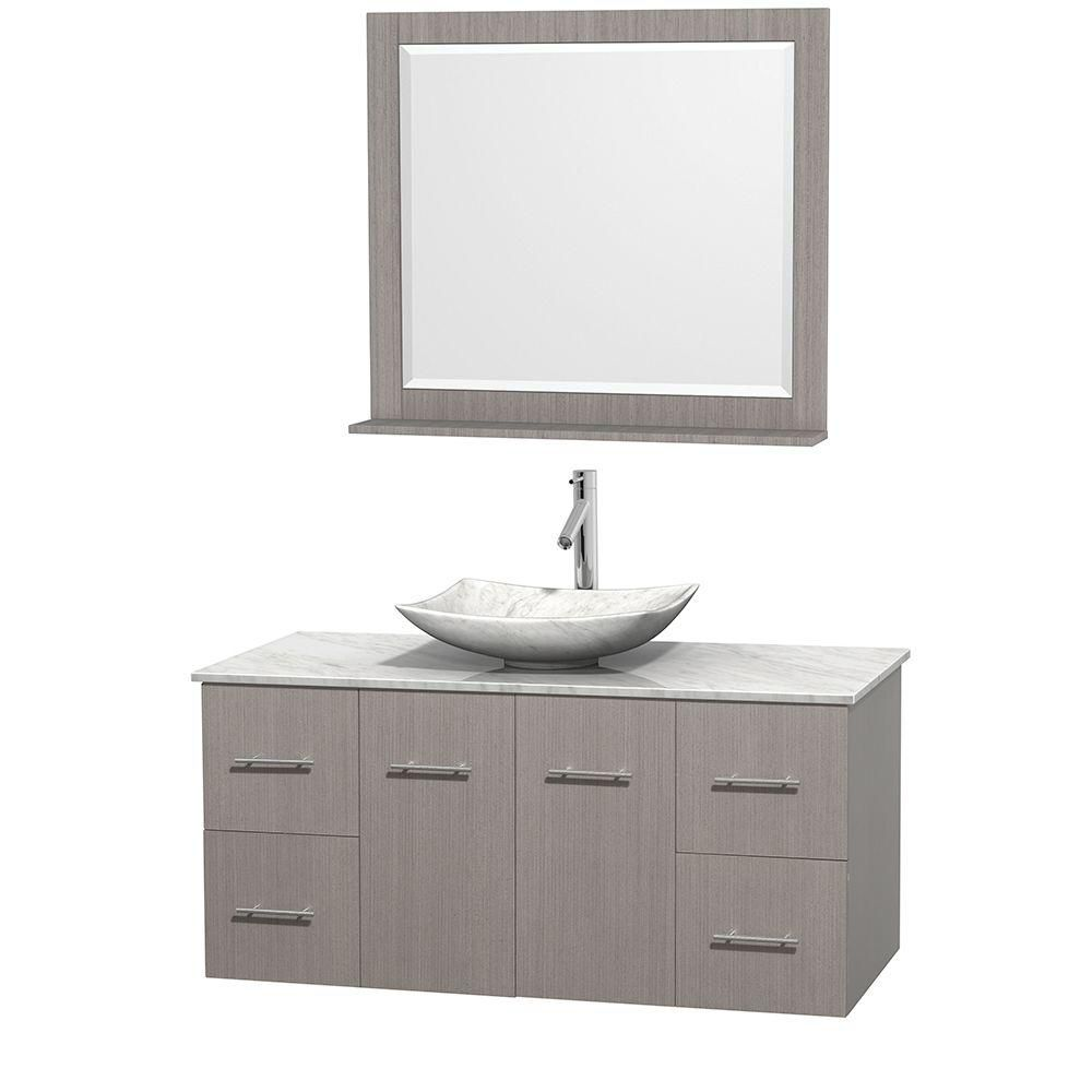 Centra 48-inch W Vanity in Grey Oak with White Top with White Basin and Mirror
