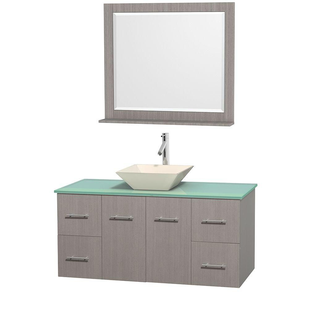 Centra 48-inch W Vanity in Grey Oak with Glass Top with Bone Basin and Mirror