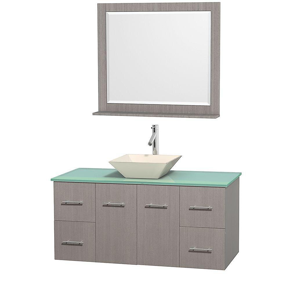 Meuble unique Centra 48 po. chêne gris, comptoir verre vert, lavabo porcelaine bone, miroir 36 po.