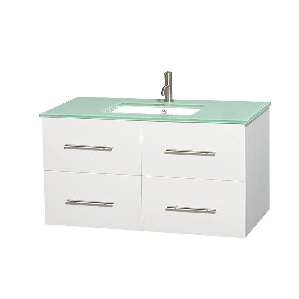 Centra 42-inch W Vanity in White with Glass Top with Square Basin