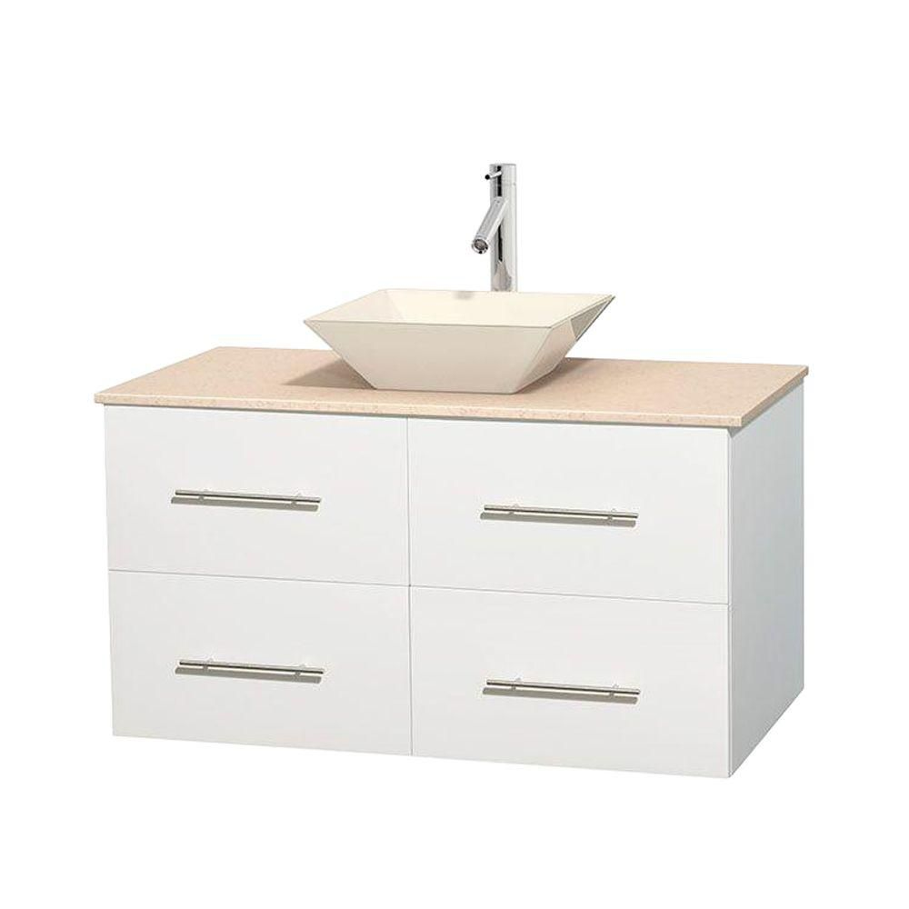 Centra 42 In. Single Vanity in White with Ivory Marble Top with Bone Porcelain Sink and No Mirror WCVW00942SWHIVD2BMXX Canada Discount