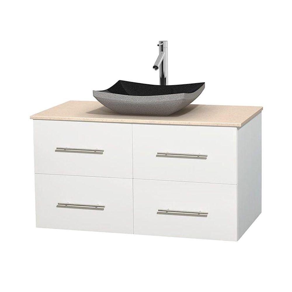 Meuble simple Centra 42 po. blanc, comptoir marbre ivoire, lavabo granit noir, sans miroir