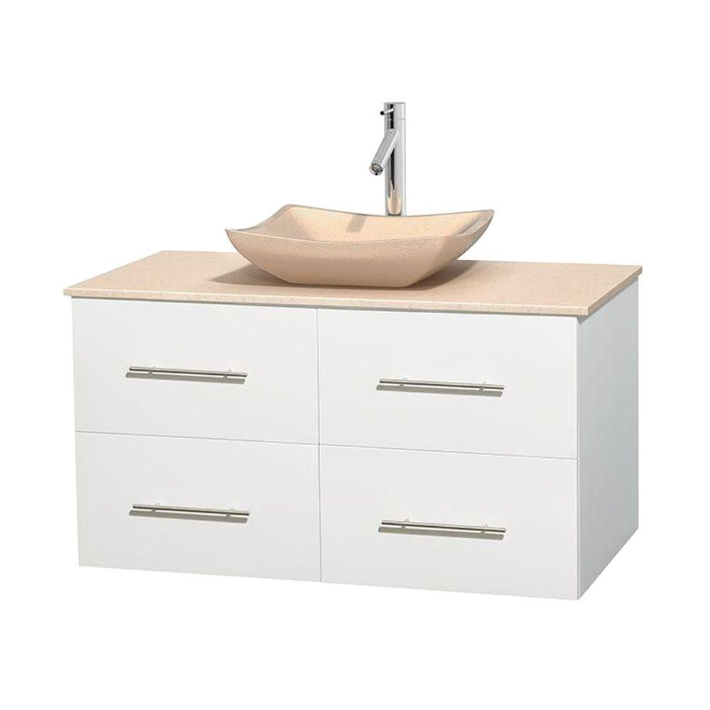 Centra 42-inch W 2-Drawer 2-Door Wall Mounted Vanity in White With Marble Top in Beige Tan