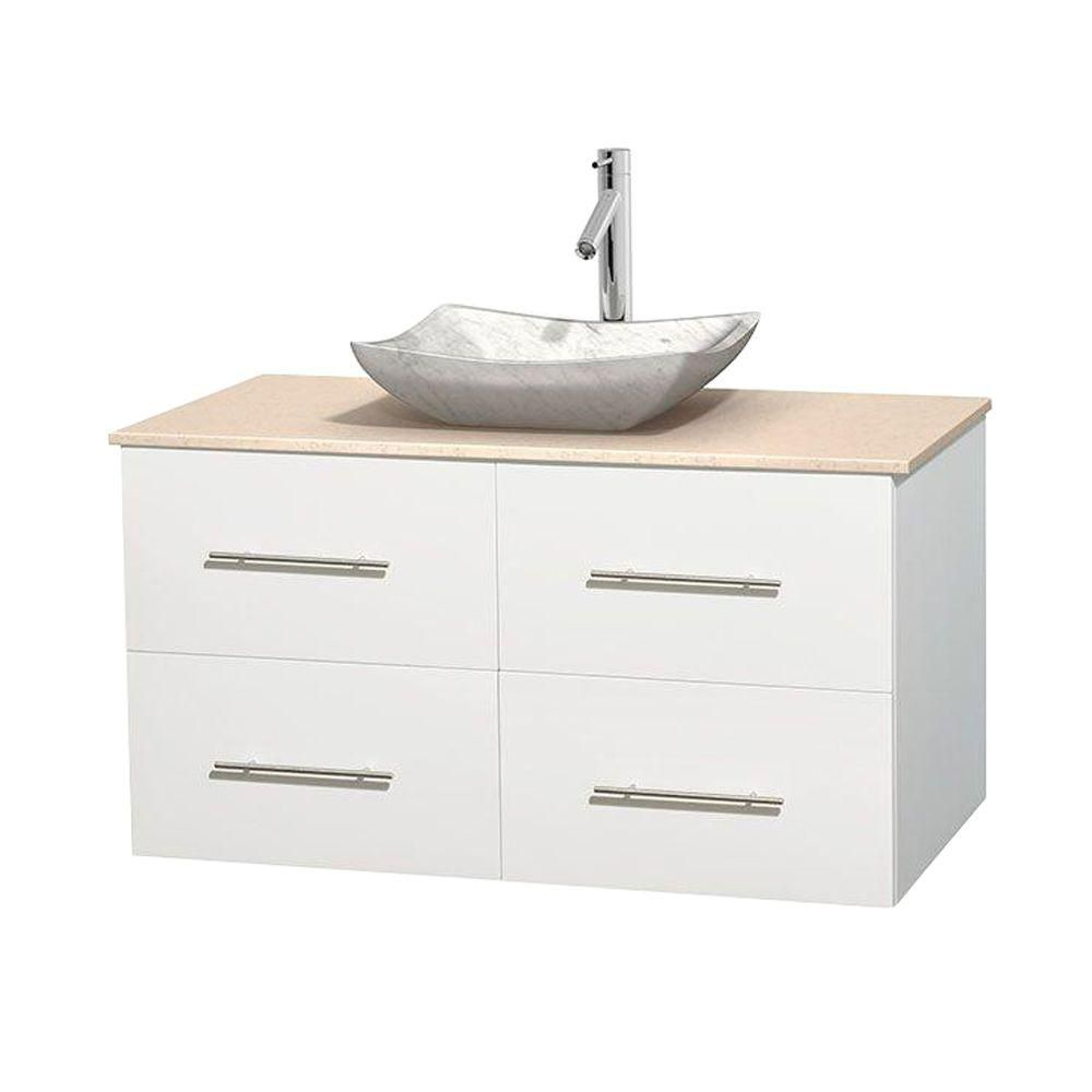Centra 42-inch W Vanity in White with Marble Top in Ivory with White Basin