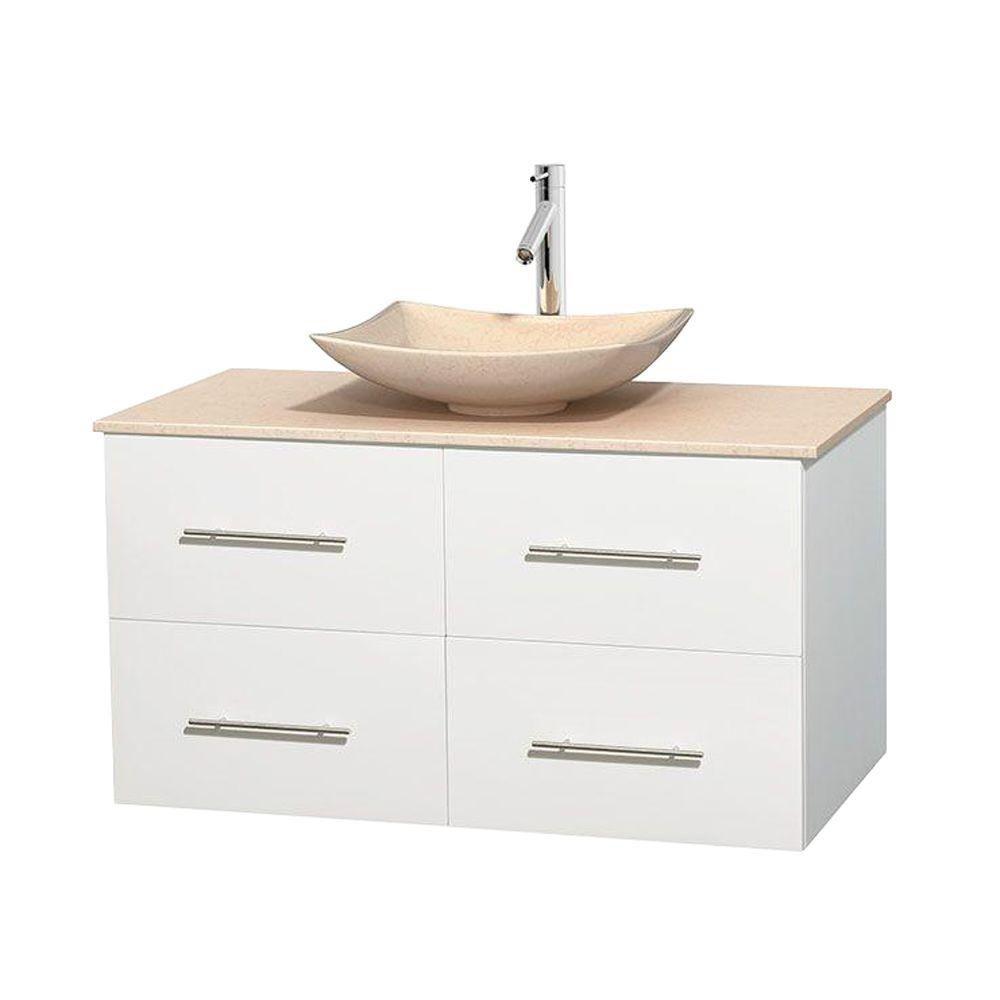 Meuble simple Centra 42 po. blanc, comptoir marbre ivoire, lavabo ivoire, sans miroir