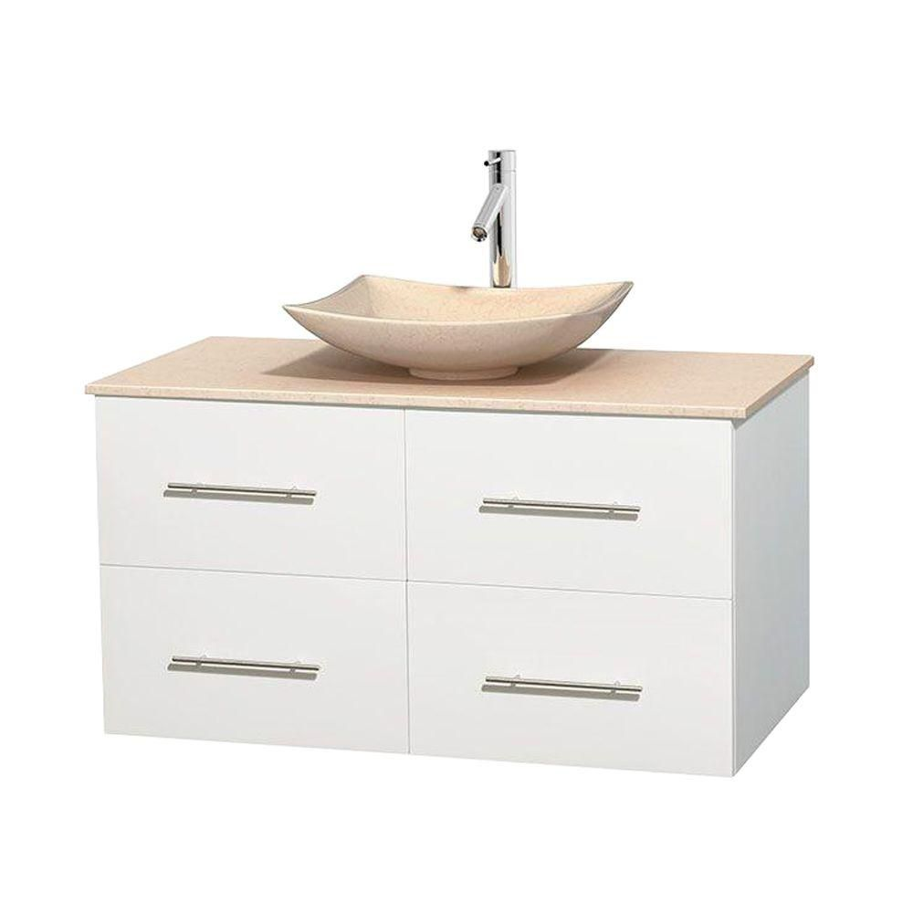 Centra 42-inch W Vanity in White with Marble Top in Ivory with Ivory Basin