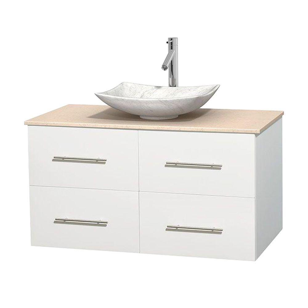 Meuble simple Centra 42 po. blanc, comptoir marbre ivoire, lavabo blanc Carrare, sans miroir