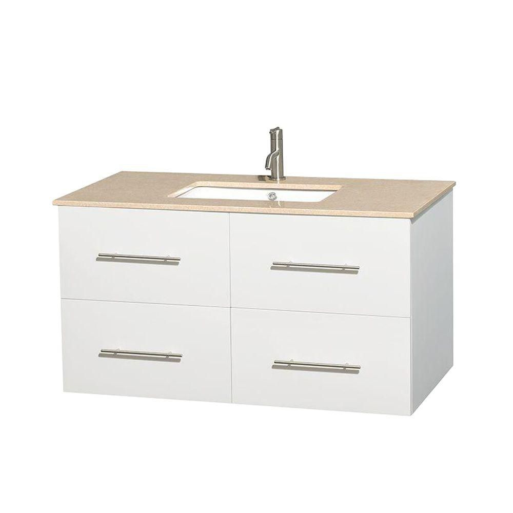 Centra 42-inch W Vanity in White with Marble Top in Ivory with Square Basin