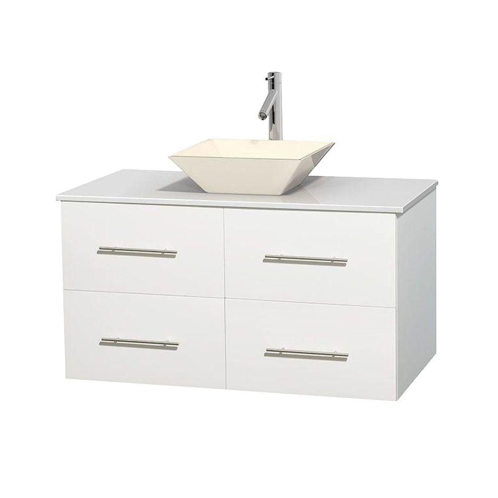 Wyndham Collection Centra 42-inch W 2-Drawer 2-Door Wall Mounted Vanity in White With Artificial Stone Top in White
