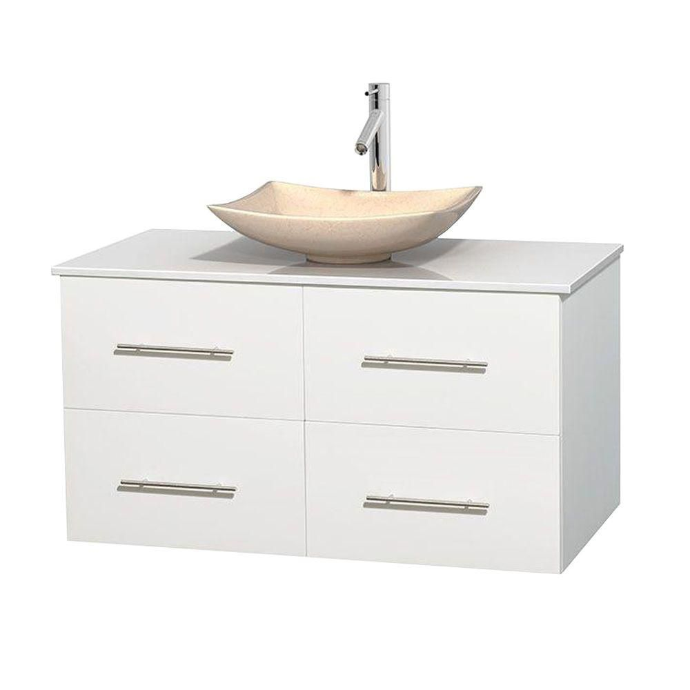 Centra 42-inch W 2-Drawer 2-Door Wall Mounted Vanity in White With Artificial Stone Top in White