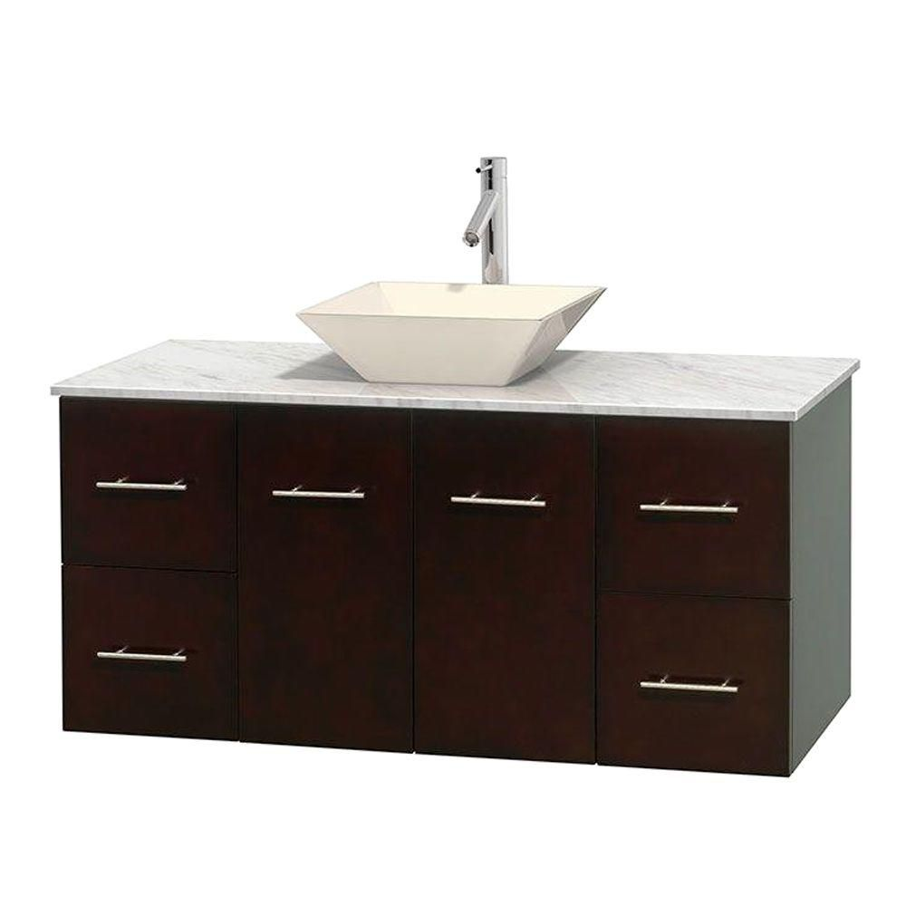 Wyndham Collection Centra 48-inch W 4-Drawer 2-Door Wall Mounted Vanity in Brown With Marble Top in White