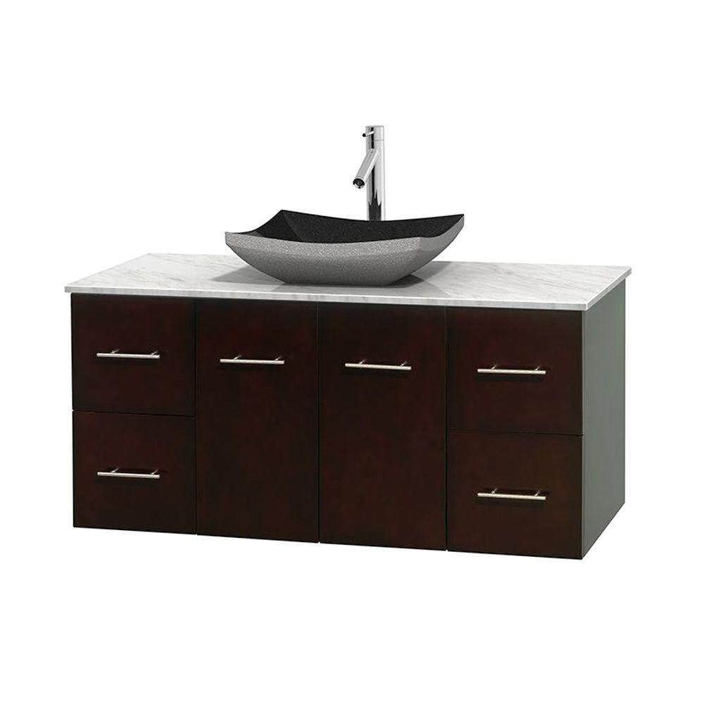 Centra 48-inch W Vanity in Espresso with White Top with Black Basin