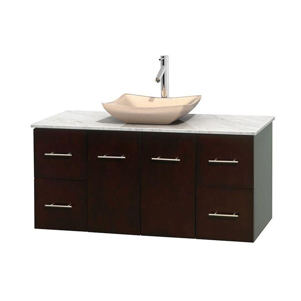Centra 48-inch W Vanity in Espresso with White Top with Ivory Basin