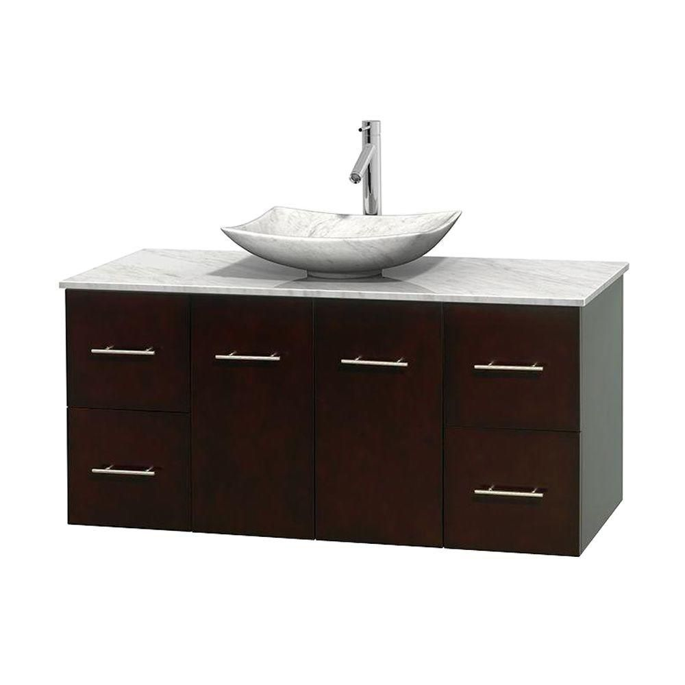 Centra 48-inch W 4-Drawer 2-Door Wall Mounted Vanity in Brown With Marble Top in White